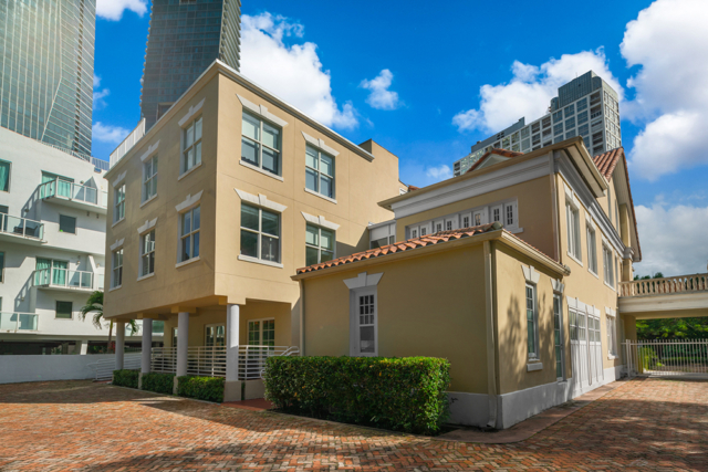 1548 Brickell Avenue rear entry, parking lot and entrance gate